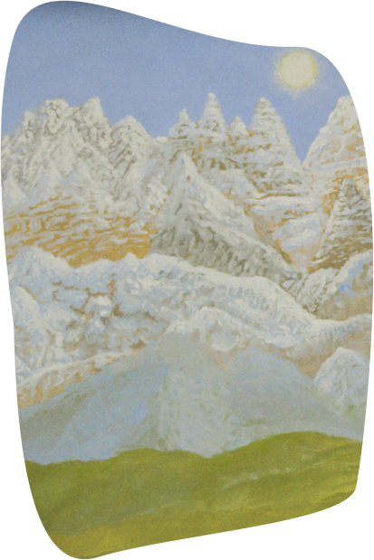 Landscape painting of snowy mountains with light blue sky and green grass in foreground.