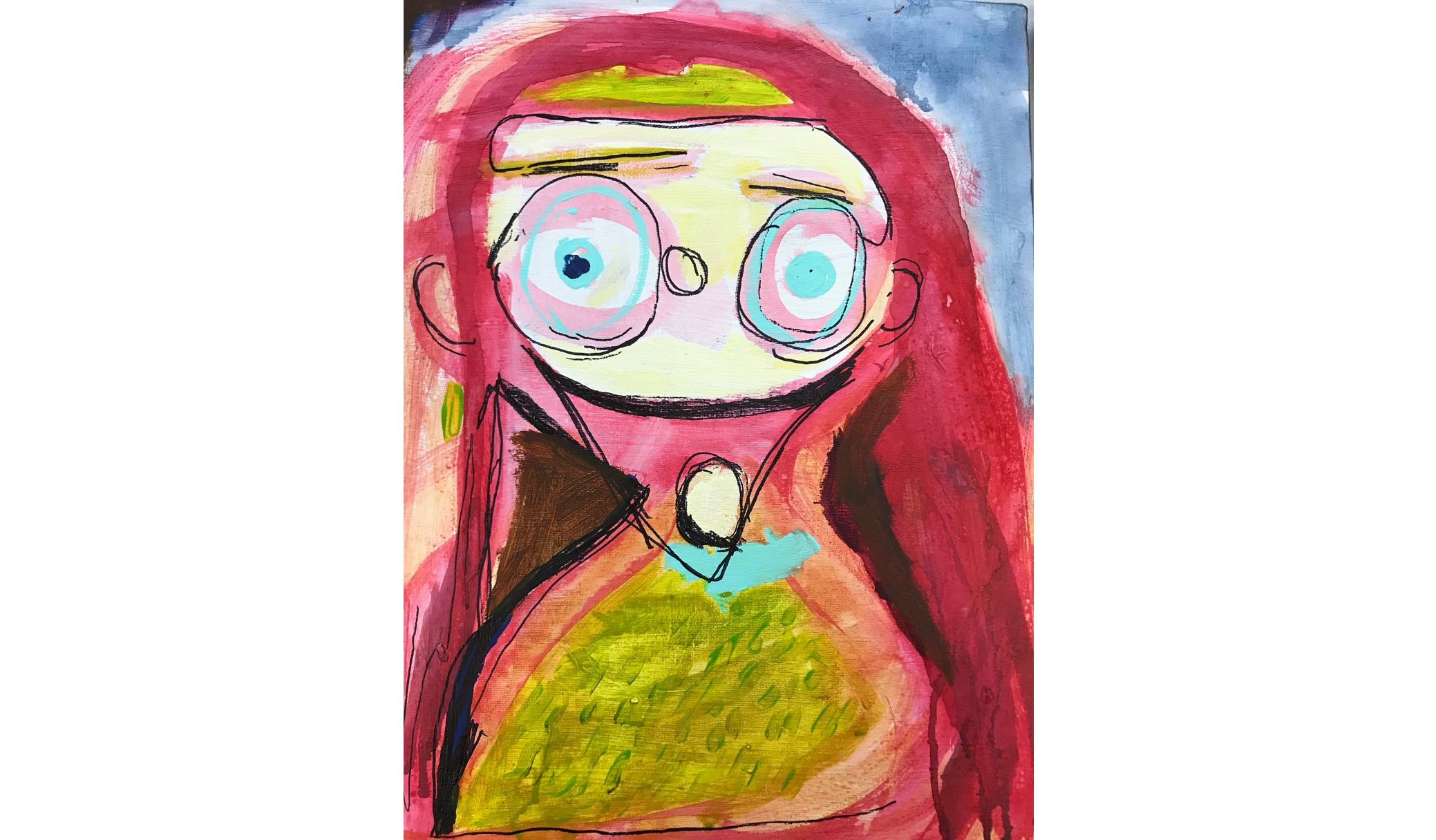 Abstract pink portrait of girl with large eyes and long hair with black lines on blue background.